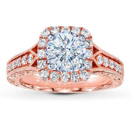 Diamond Ring Setting 1 2 Ct Tw Round Cut 14k Rose Gold
