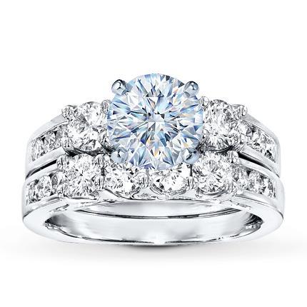 Diamond Bridal Setting 114 ct tw Roundcut 18K White Gold