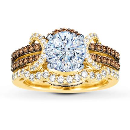Le Vian Chocolate Diamonds 78 carat tw 14K Gold Bridal Setting