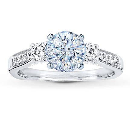 Diamond Ring Setting 38 ct tw Round Idealcut 18K White Gold