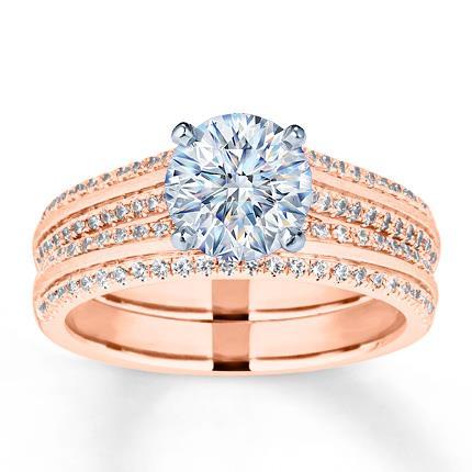 Diamond Bridal Setting 12 ct tw Roundcut 14K Rose Gold Jared The